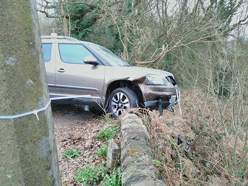 Photo of the car which crashed on Shaws Hill in March 2016