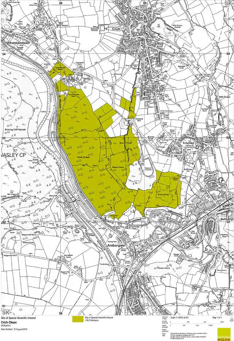 Map showing the Site of Scientific Interest at Crich Chase