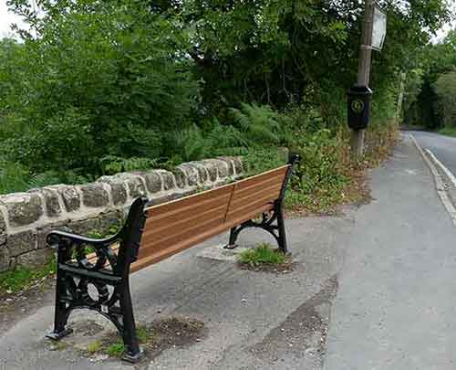 Replacement seat at bottom of Shaws Hill